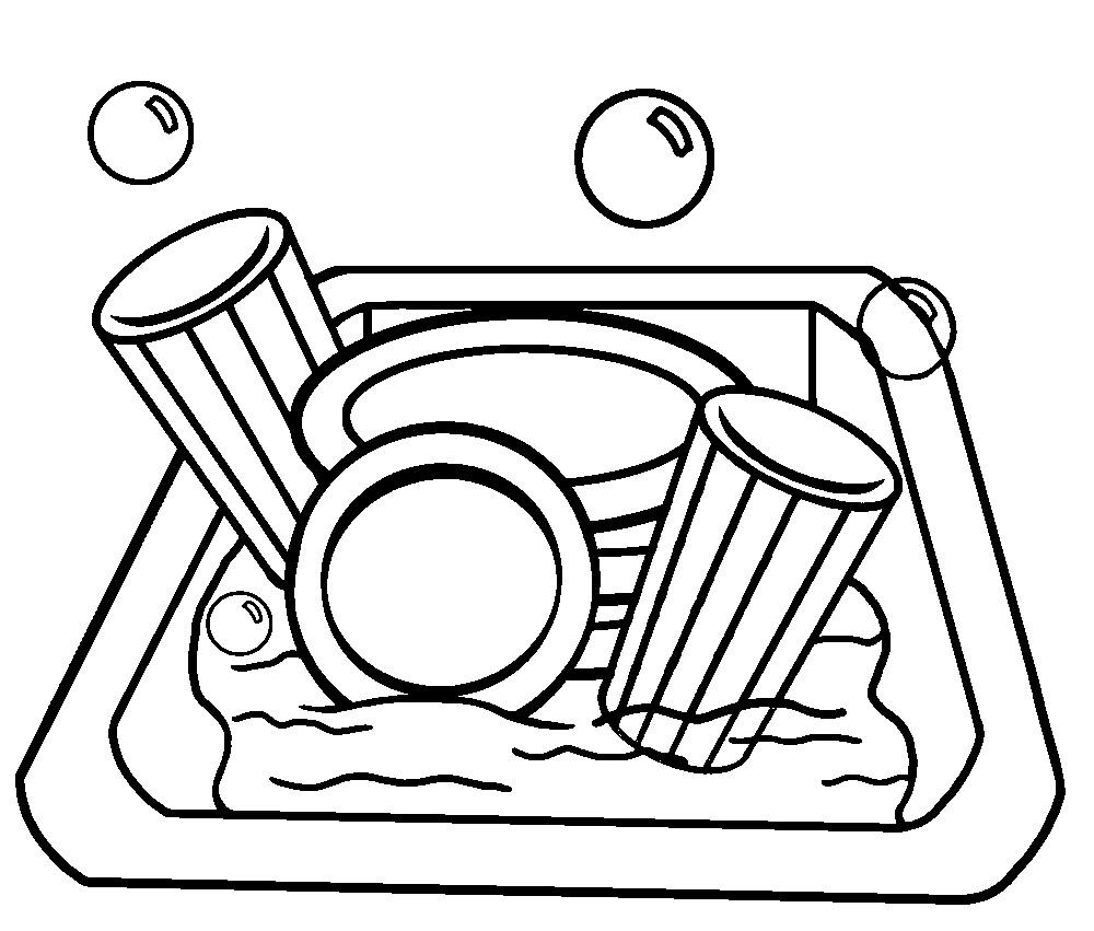 Раскраска посуда в мойке