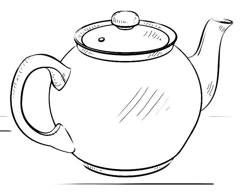 Раскраска заварочный чайник