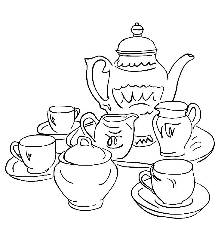 Раскраска чайный сервиз