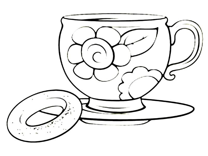Раскраска красивая чайная чашка