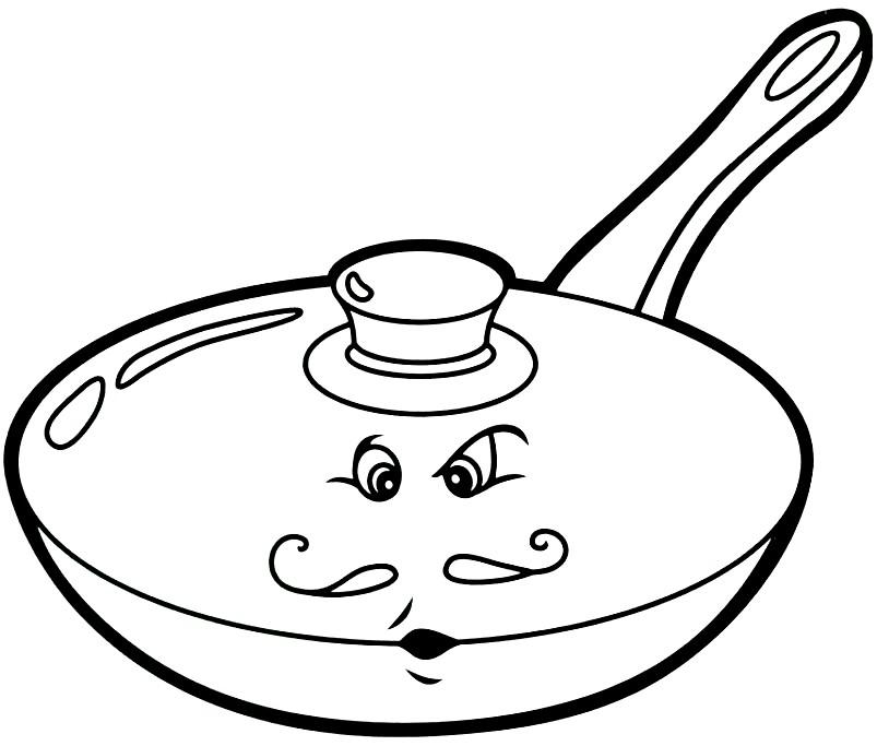 Раскраска сковорода с крышкой