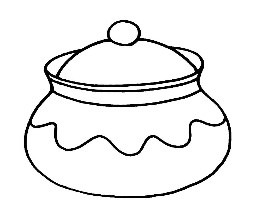 Раскраска горшочек для жаркого