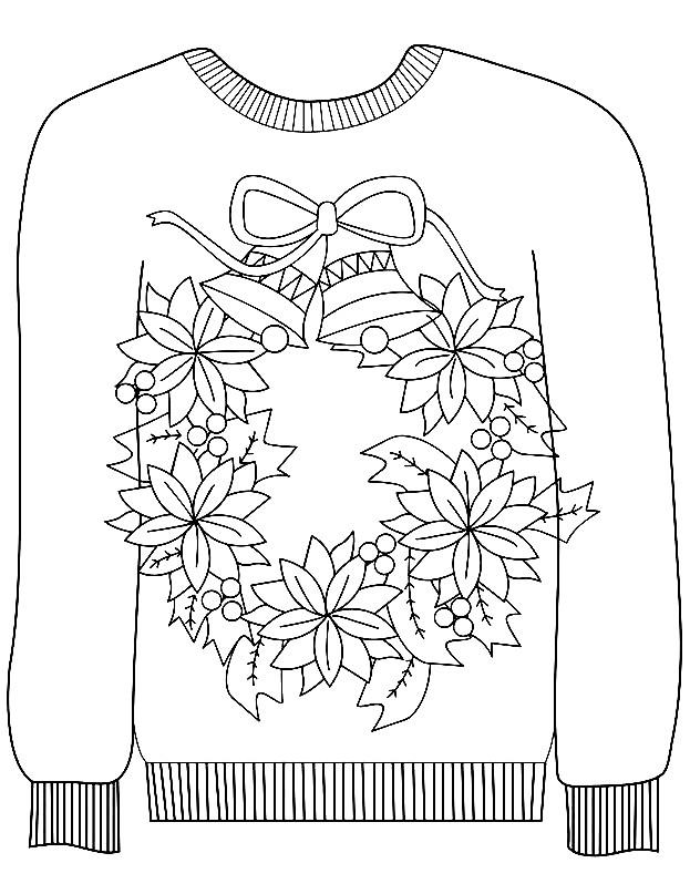 Раскраска свитер с узором