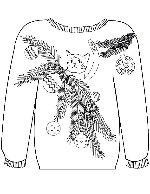 Раскраска свитер с кошкой | Раскраски для детей ...