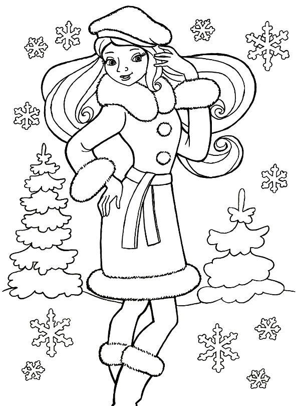Раскраска девушка в зимней одежде