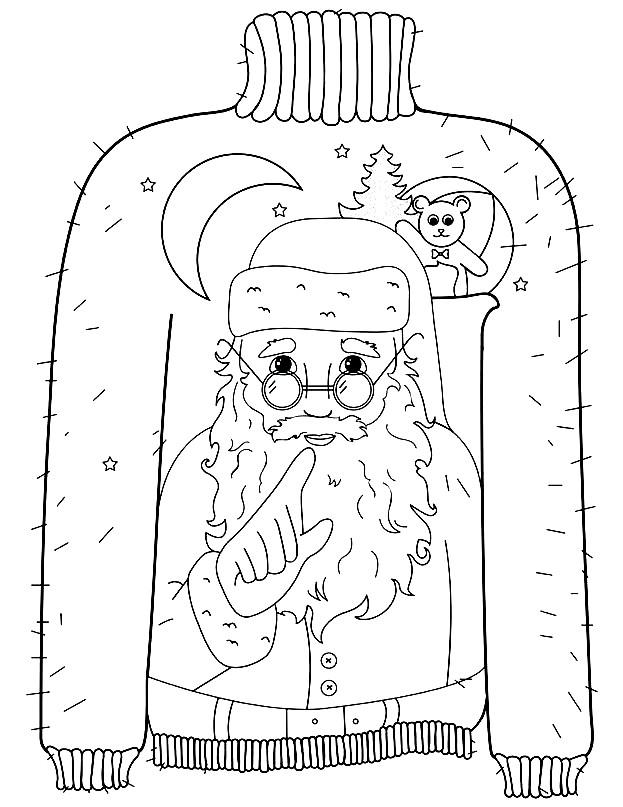 Раскраска свитер с дедом морозом