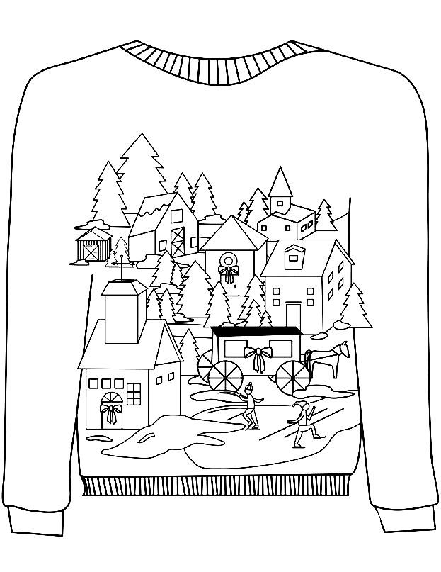 Раскраска свитер для мальчика