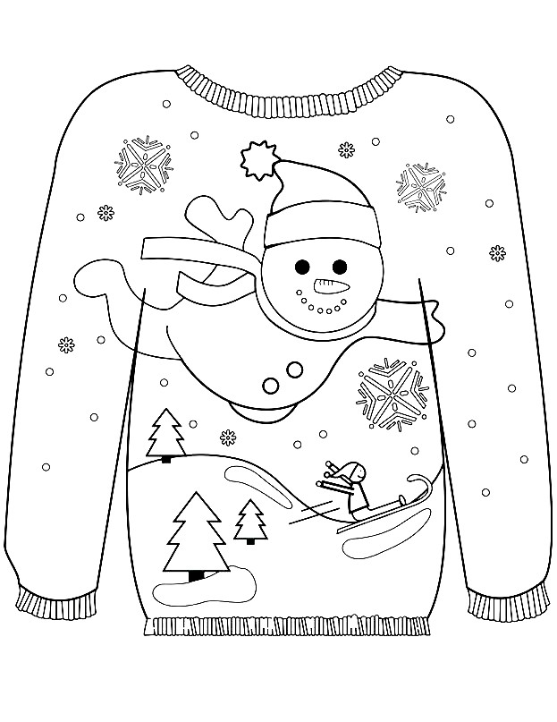 Раскраска свитер с новогодним рисунком