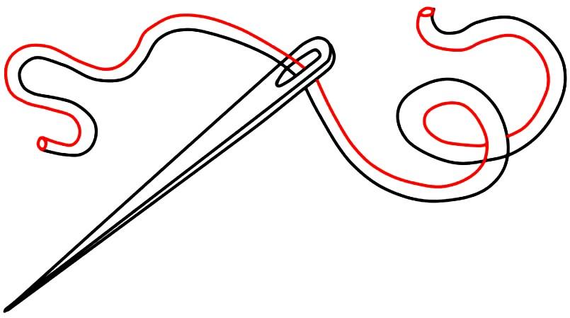 Раскраска иголка с ниткой