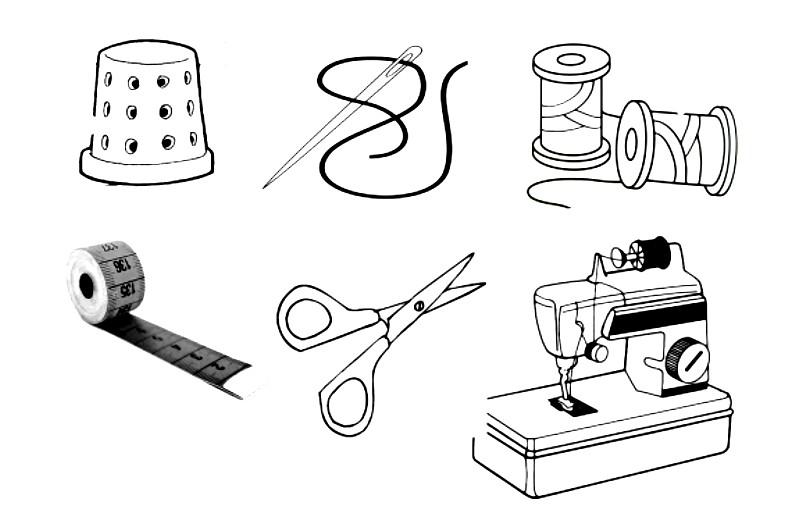 Раскраска швейные принадлежности