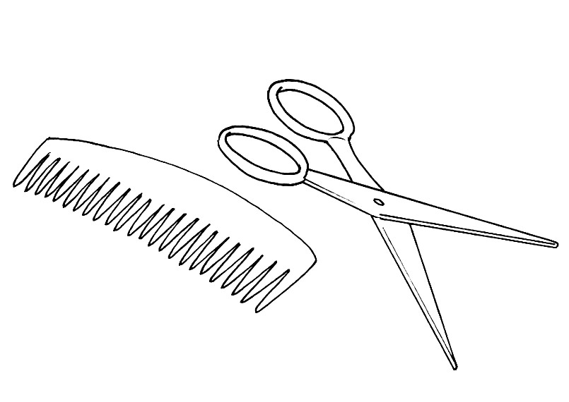 Раскраска расческа и ножницы