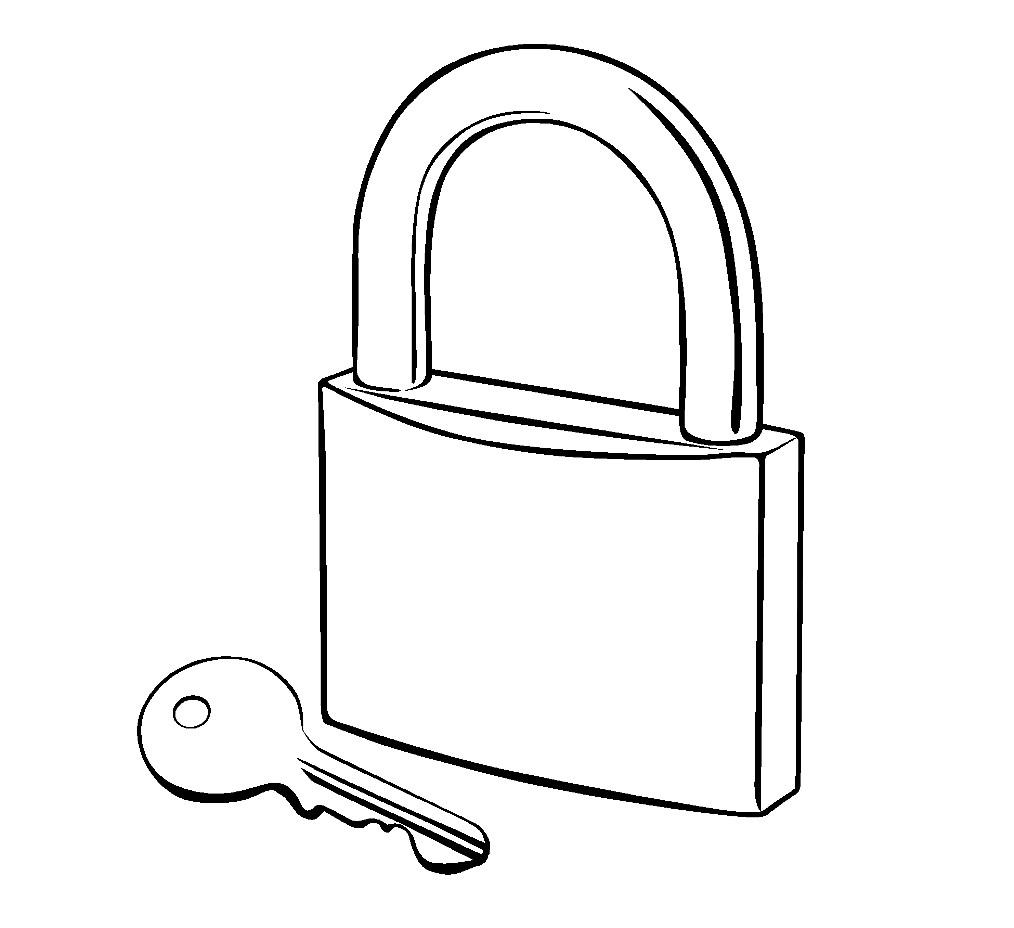 Раскраска замок с ключом