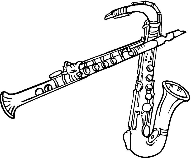 Раскраска саксофон