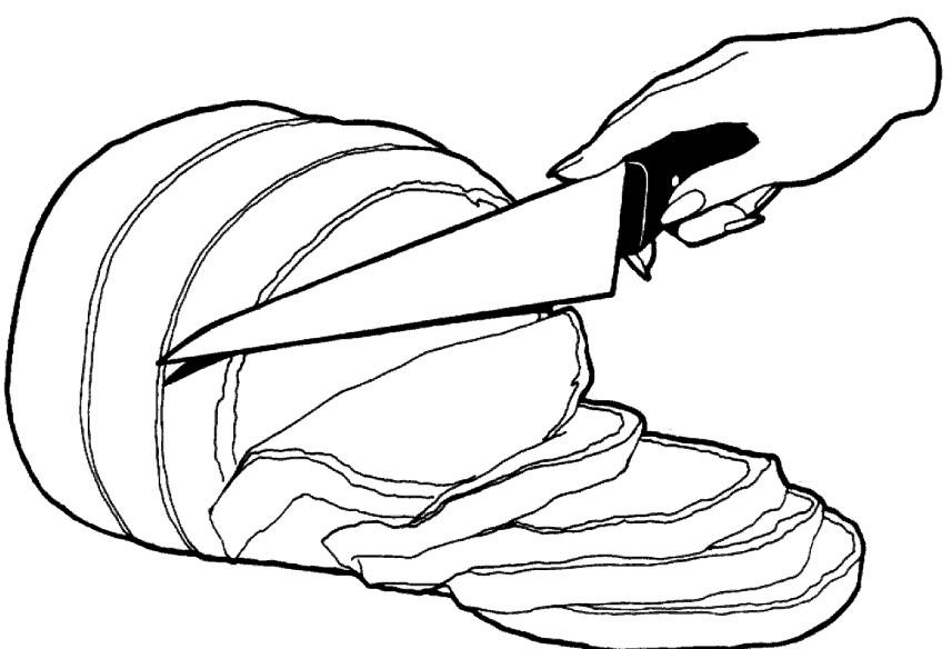 Раскраска нарезанная колбаса