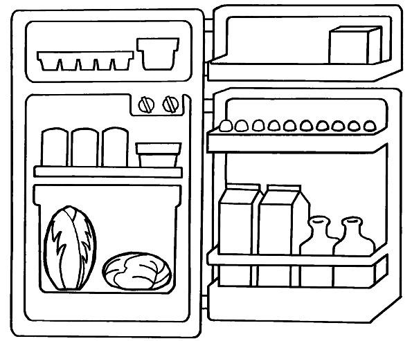 Раскраска набор продуктов из холодильника