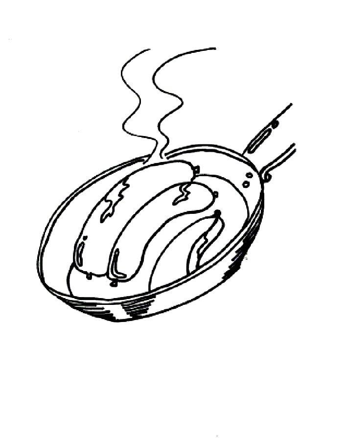 Раскраска жаренные сосиски