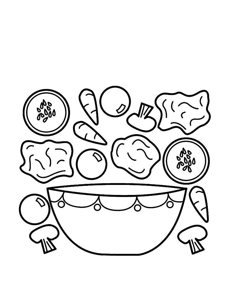 Раскраска ингридиенты салата