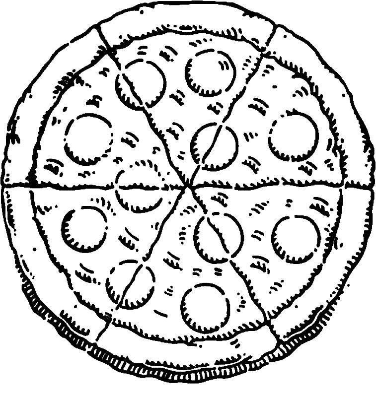 Раскраска пицца пепперони