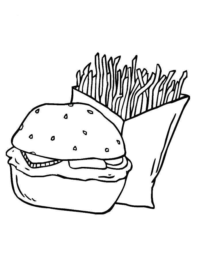 Раскраска гамбургер и фри