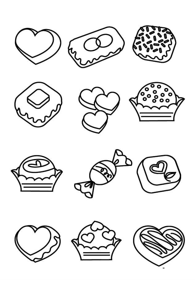 Раскраска много сладостей