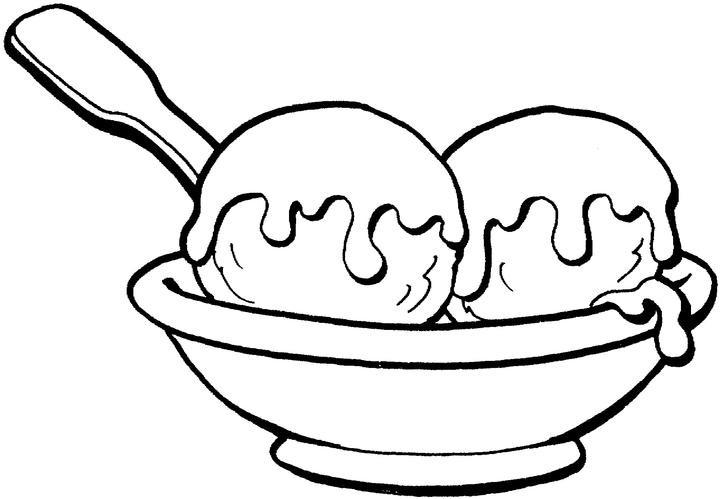Раскраска тарелка с мороженым
