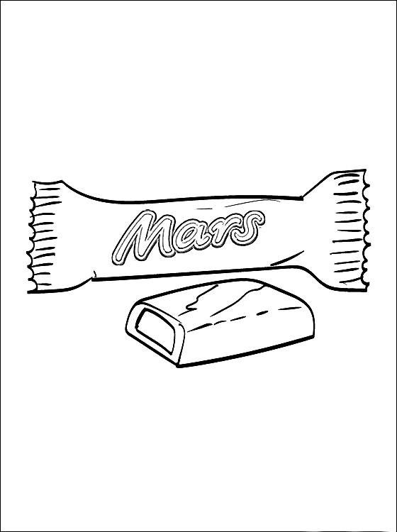 Раскраска шоколадка марс