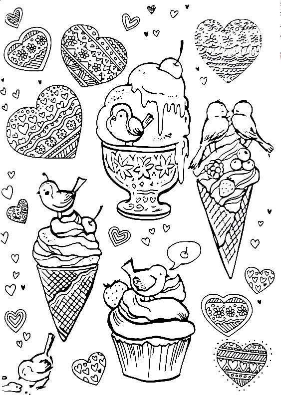 Раскраска морожное и пирожное