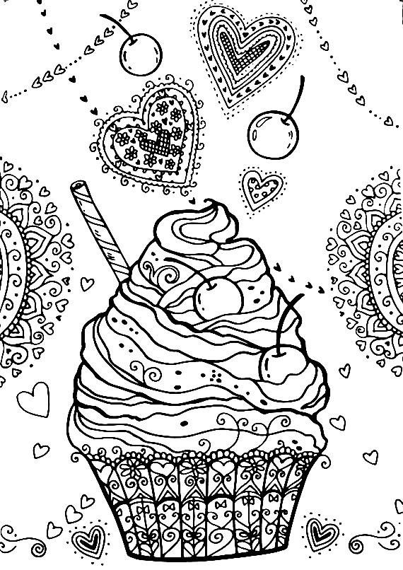 Раскраска аппетитный дисерт