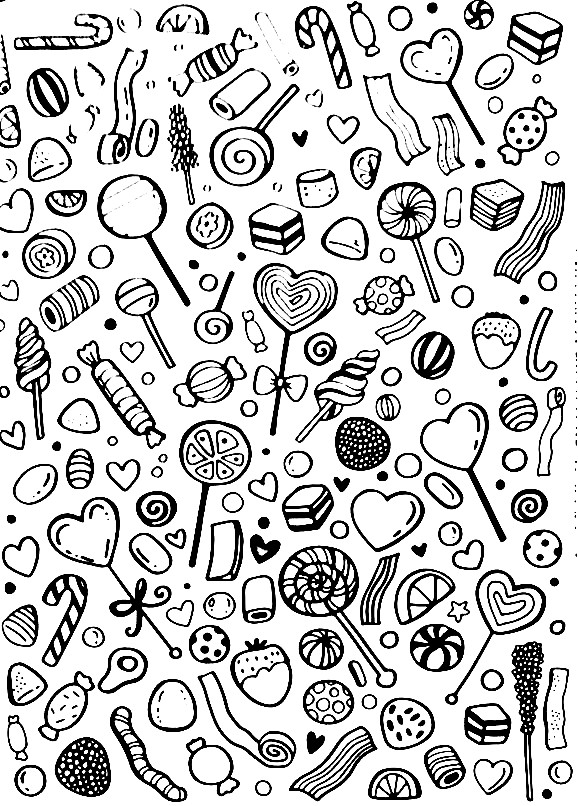 Раскраска леденцы и конфеты