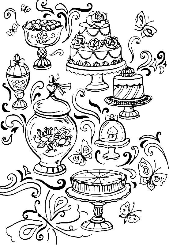 Раскраска сладкий стол