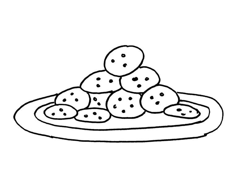 Раскраска тарелка с печеньем