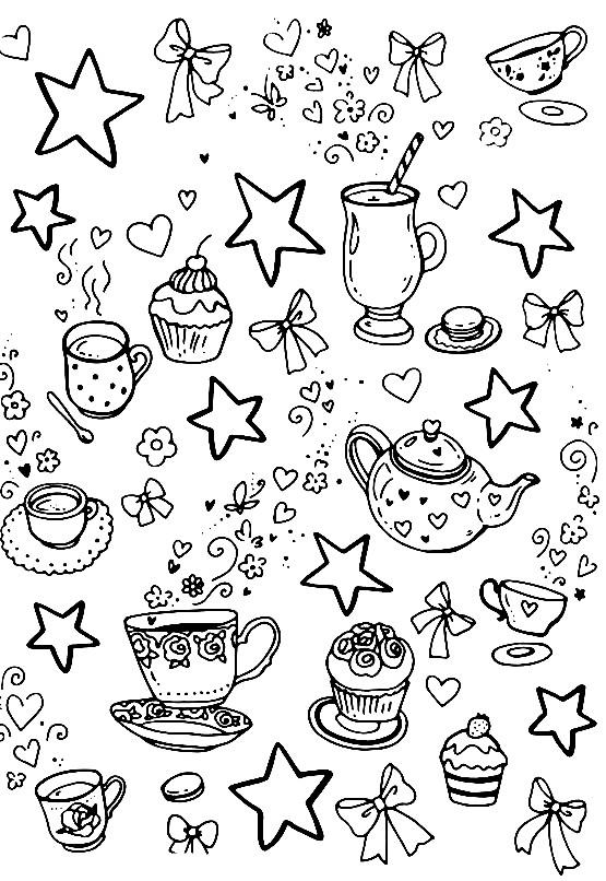 Раскраска романтическое чайпитие