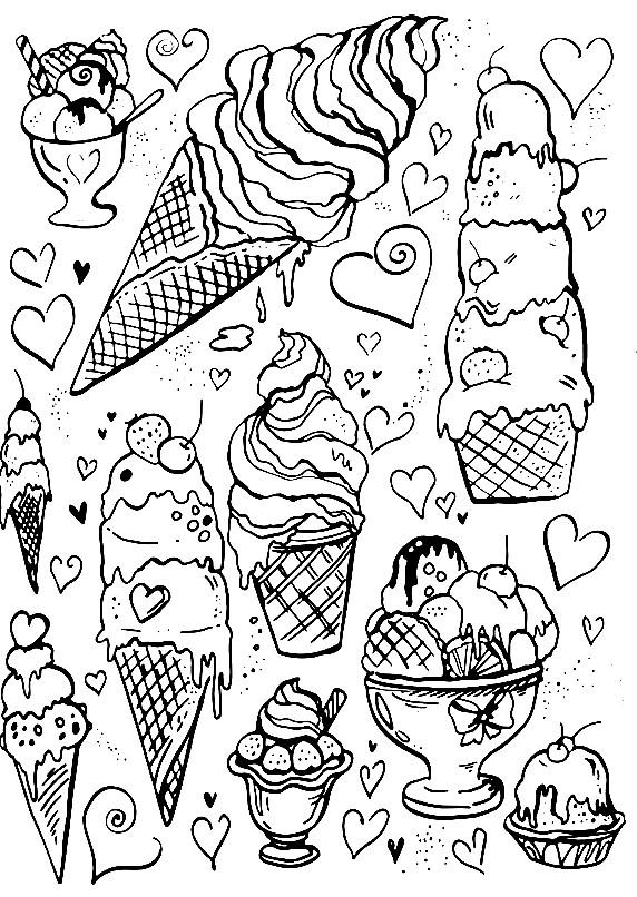 Раскраска разные сорта морожного