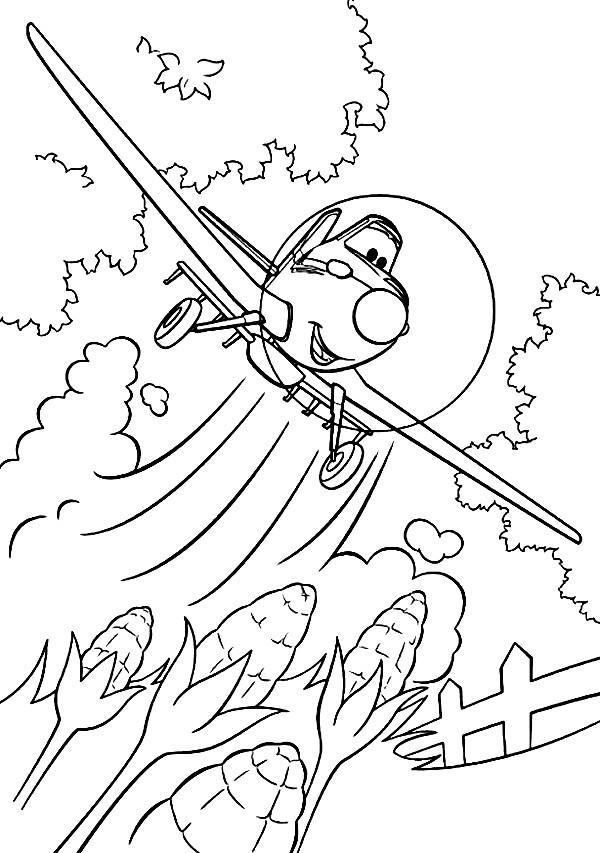 Раскраска самолет из Диснея