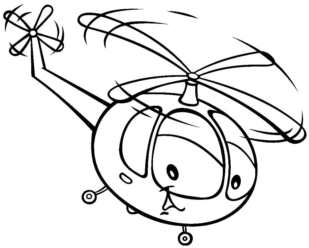 Раскраска вертолет для малышей