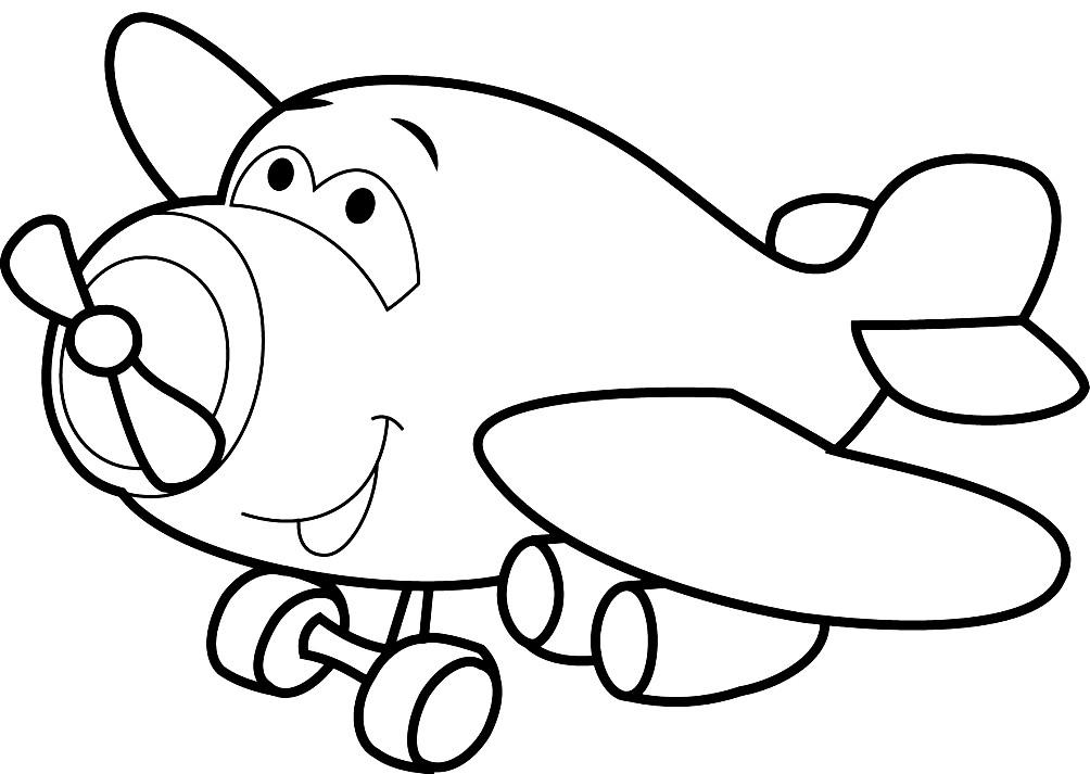 Раскраска самолёт для малышей