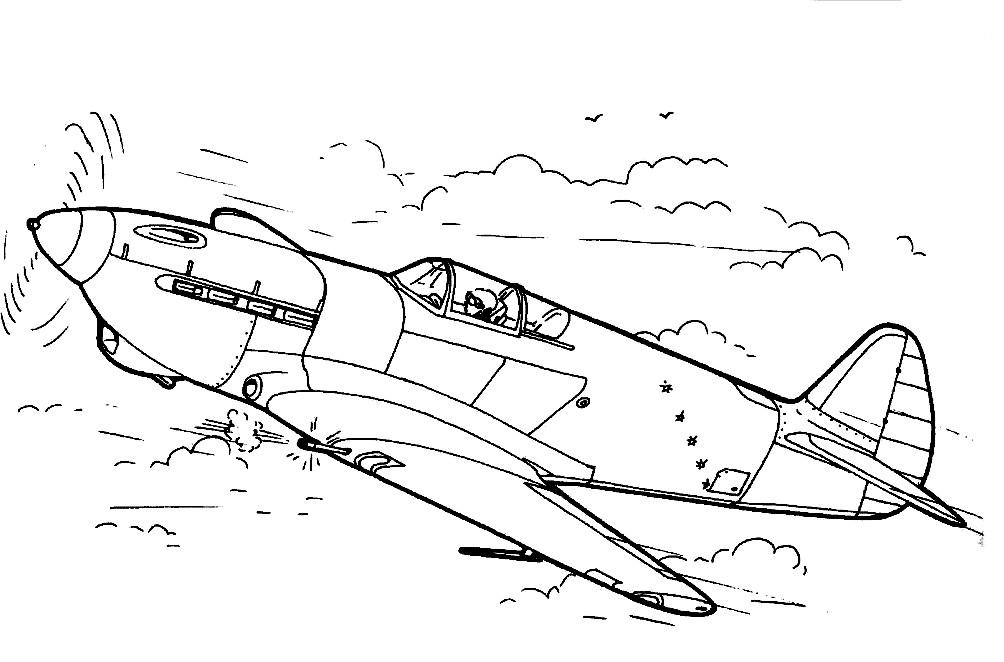 Раскраска военный самолёт
