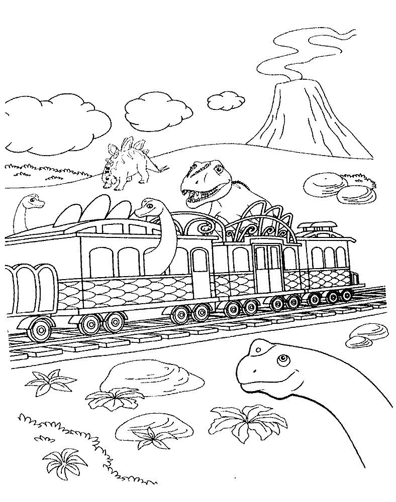 Раскраска поезд динозавров