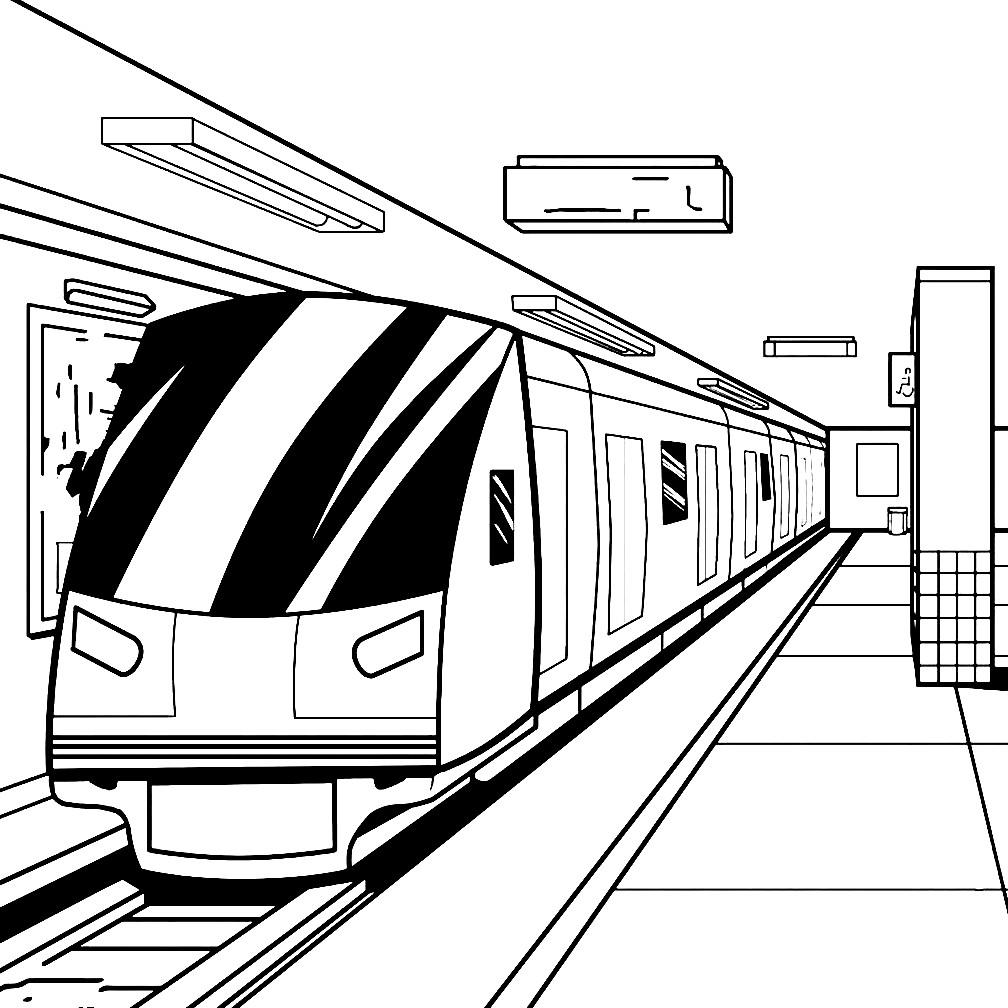 Раскраска поезд в метро