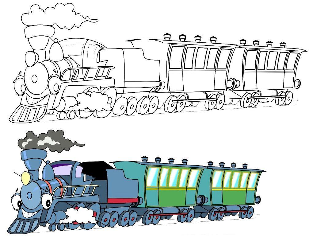 Раскраска поезд по образцу