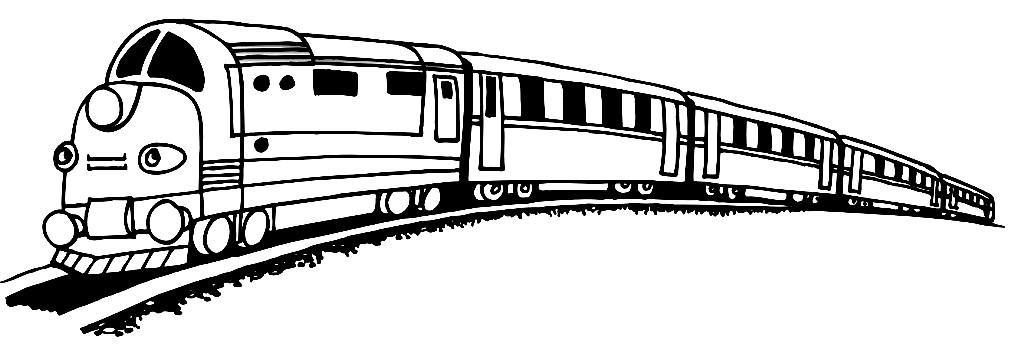 Раскраска поезд с вагонами