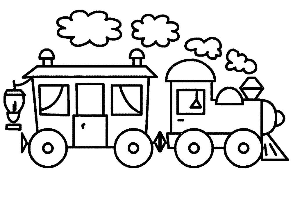 Раскраска поезд для самых маленьких