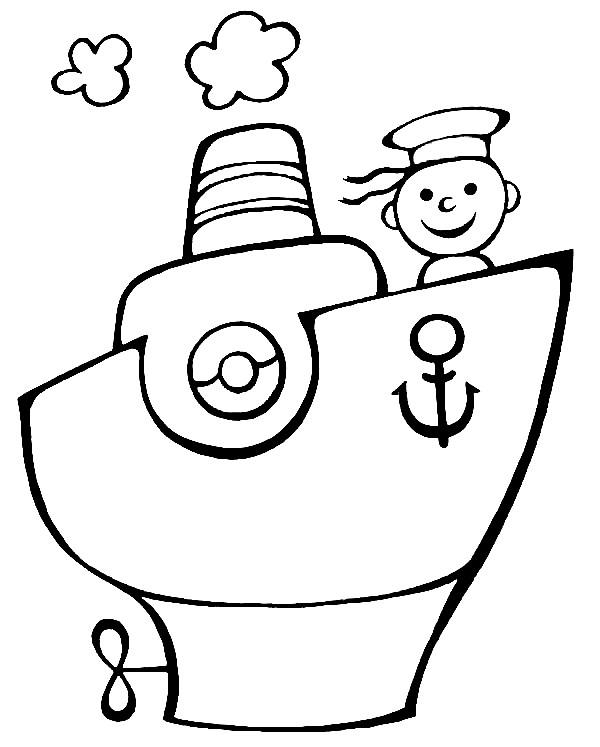 Раскраска кораблик для малышей