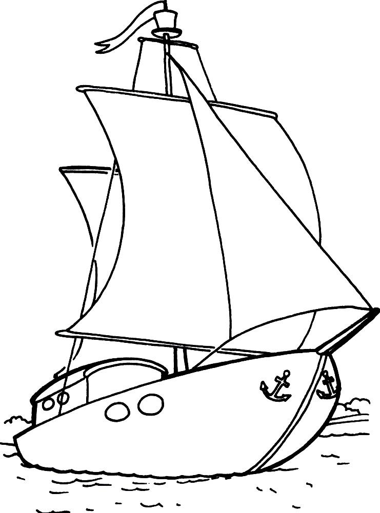 Раскраска яхта с парусами