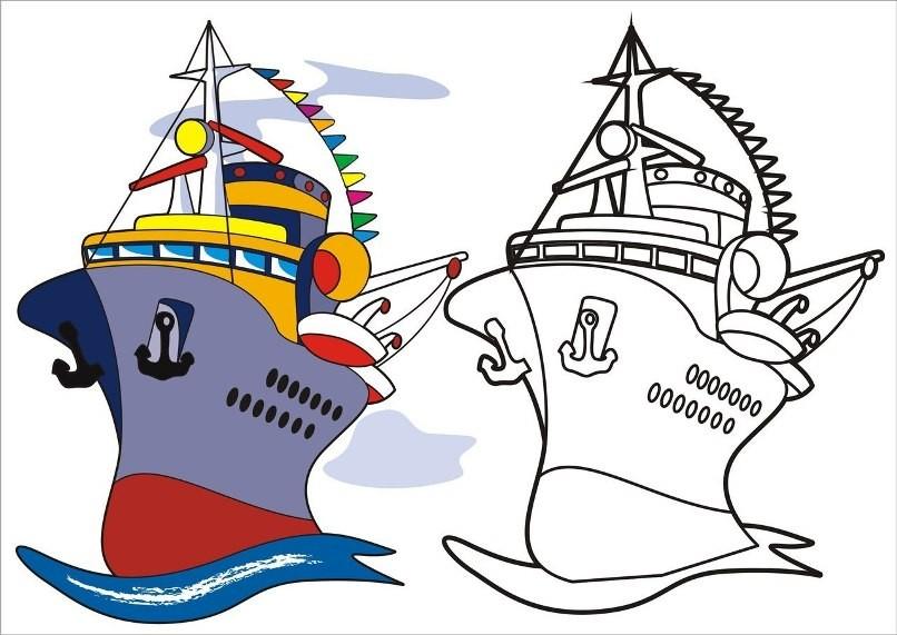 Раскраска корабль с образцом