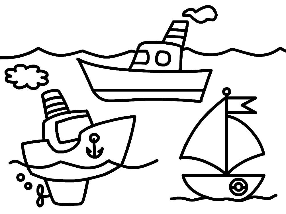 Раскраска кораблики для маленьких