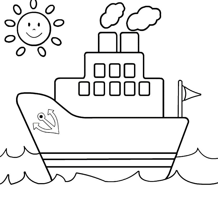 Раскраска кораблик для детей