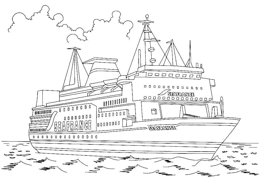 Раскраска пассажирское судно