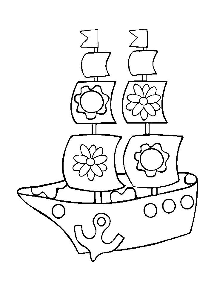 Раскраска кораблик с цветочками