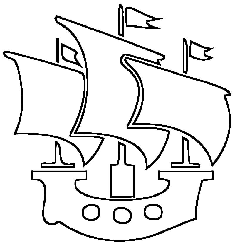 Раскраска кораблик с парусами